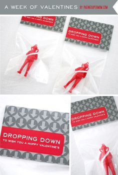 """Dropping Down to Wish You a Happy Valentines"" Parachute Man Valentine Printable"