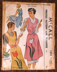 CHARMING-CLASSY-40s-Vintage-McCall-1403-Full-COVER-ALL-Apron-Pattern-LRG-40-42