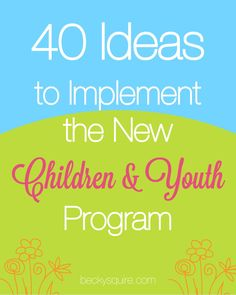 Children and Youth Program LDS Here is a list of 40 ideas to implement the new Children and Youth program from The Church of Jesus Christ of Latter-Day Saints. Young Women Activities, Primary Activities, Activities For Girls, Church Activities, Group Activities, Indoor Activities, Summer Activities, Activity Day Girls, Activity Days