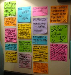 My sticky note encouragement wall with bible verses and sayings to keep me going when I get down