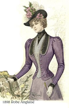 1898 Victorian Pattern - Cloth Jacket - sized for you from antique pattern - with bonus lingeie patt Victorian Era Fashion, 1890s Fashion, Victorian Costume, Victorian Women, Vintage Fashion, Historical Costume, Historical Clothing, Vintage Outfits, Victorian Pattern