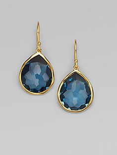 Ippolita - London Blue Topaz & Yellow Gold Earrings with Flemming and Barley Teardrop Earrings, Gold Earrings, Gold Jewelry, Jewelery, Jewelry Accessories, Fine Jewelry, Jewelry Box, Topaz Jewelry, London Blue Topaz