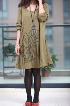 Spring long sleeved dress /applique dress /cotton bottom by MaLieb, $72.00