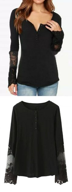 White Button Long Sleeve Sheer Lace Detail T-shirt