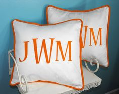 Design Your Own - Monogrammed Pillow Cover  Set of Two  Large Font  by calicodaisy, $67.00
