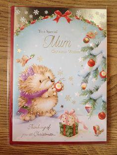 HEDGEHOG DECORATING CHRISTMAS TREE MUM CHRISTMAS CARD  ~ NEW