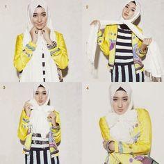 Casual style hijab by Dian Pelangi Tutorial Hijab Modern, Hijab Style Tutorial, 1920s Fashion Dresses, 90s Fashion, Fashion Hacks, Fashion Ideas, Fashion Trends, Muslim Fashion, Hijab Fashion