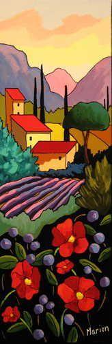 Beauté de la Provence by Louise Marion - Louise Marion, artiste peintre, paysage urbain, Quebec, couleurs