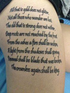 My Lord of the Rings tattoo on my upper thigh. Going to add a frame and such eventually.