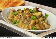 Žampiony na slanině a majoránce Potato Salad, Stuffed Mushrooms, Potatoes, Chicken, Meat, Cooking, Ethnic Recipes, Stuff Mushrooms, Kitchen