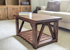 Build a DIY coffee table with these free plans. Featuring truss sides and a slatted bottom shelf, this DIY coffee table is perfect for a modern farmhouse. Woodworking Bench Plans, Woodworking Toys, Woodworking Furniture, Diy Furniture, Woodworking Projects, Woodworking Equipment, Furniture Projects, Wood Projects, Coffee Table Frame
