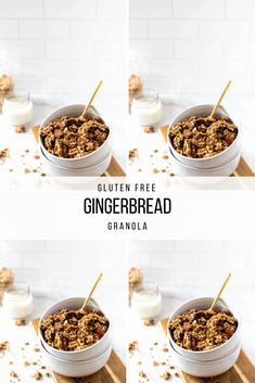 This Gingerbread Christmas Granola will get you ready for the holiday season. This gluten-free granola is chewy, sweet and simple to make! #glutenfreegranola #veganchristmas #christmasrecipes #vegangranola #gingerbreadrecipes #gingerbreadgranola #homemadegranola #healthyholidaybreakfasts #holidayrecipes Vegan Granola, Gluten Free Granola, Gluten Free Gingerbread, Plant Based Snacks, Holiday Recipes, Christmas Recipes, Gluten Free Recipes For Breakfast, Cookie Time, Ginger Cookies