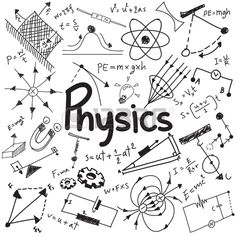 Physics science theory law and mathematical formula equation, doodle handwriting and model icon in white isolated background paper used for school education and document decoration, create by vector h - Fiorela Franco - Science Drawing, Science Art, Science Jokes, Science Experiments, Physical Science, Earth Science, Science Space, Science Crafts, Science Biology
