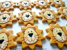 Hand decorated lion face sugar cookies - great for the animal lover or circus themed event.