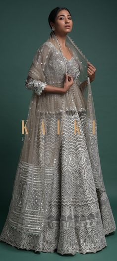 Elephant grey lehenga in organza. Heavily embroidered with gotta lace, beads and sequins embroidered mughal and geometric pattern. Ethnic Fashion, Indian Fashion, Sangeet Outfit, Embroidery Online, Types Of Skirts, Indian Lehenga, Beaded Lace, Designer Collection, Peplum