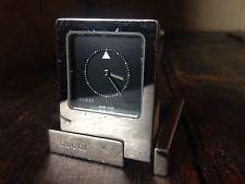 Gucci Silver Tone Travel Clock