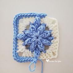 Crochet Bobble Drops Flower Granny Square Free Pattern - Crochet For You