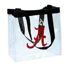 "Alabama 12"" X 12"" Clear Purse or Bag, Featuring Black Straps and the University of Alabama Logo. Alabama http://www.amazon.com/dp/B00O6LPJL4/ref=cm_sw_r_pi_dp_Wowmub1CAHCF5"