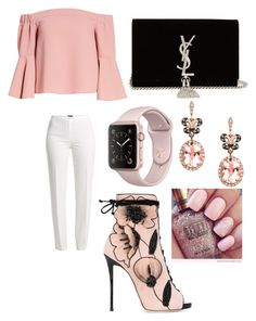 """Blush,black,and white."" by official-goddess on Polyvore featuring Giuseppe Zanotti, Basler, Topshop, Yves Saint Laurent and Effy Jewelry"