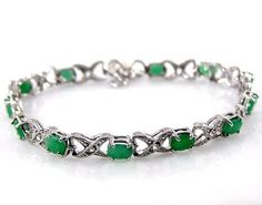 Sterling Silver Jewelry Collection  625ctw Genuine Emerald Ovals  925 Sterling Silver Bracelet * Find out more about the great product at the image link.-It is an affiliate link to Amazon. #Bracelet