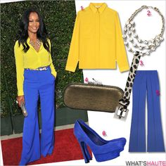 Get-her-haute-look-Garcelle-Beauvais-at-the-premiere-of-The-Help colorblock yellow blouse blue wide leg pants Diane von Furstenberg metallic-embossed leather Lytton Leather Convertible Clutch Yves Saint Laurent, Palais platform suede pumps royal blue cheetah print skinny belt Beaded Stone Multi-strand link chain Necklace