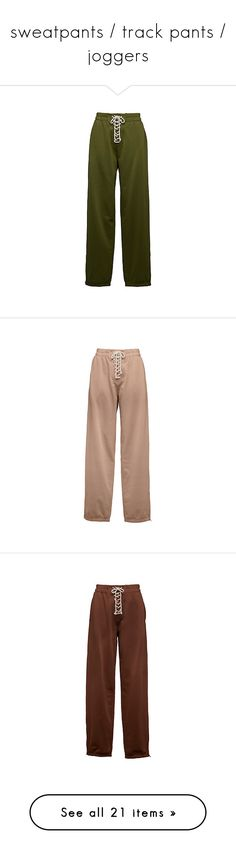 """""""sweatpants / track pants / joggers"""" by eggtartt ❤ liked on Polyvore featuring activewear, activewear pants, pants, sweatpants, sweat pants, green sweat pants, green sweatpants, beige sweatpants, brown sweat pants and brown sweatpants"""