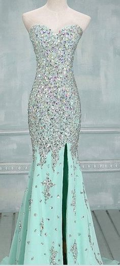 Mint Slit Mermaid sexy rhinestone prom dresses http://okbridal.storenvy.com/products/11314896-mermaid-prom-dress-tiffany-prom-dress-rhinestone-prom-dress-chiffon-prom