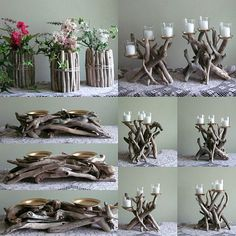 Looking for some driftwood DIY ideas for your next home decor project? Check out some of the best crafts and tutorials using driftwood that will be perfect for a coastal or boho home. Rustic Candle Holders, Rustic Candles, Pillar Candles, Driftwood Candle Holders, Retro Home Decor, Diy Home Decor, Room Decor, Coastal Decor, Eclectic Decor