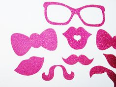 Glitter Photo Booth Props 9 pc Rose Pink Sparkle Photobooth Props Mustache Lips Stick Props Wedding Photo Booth Princess Photo Booth Props #Pink #Wedding #PinkWedding #Paper