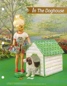 IN THE DOG HOUSE PLASTIC CANVAS PATTERN BY ANNIES FOR FASHION DOLL