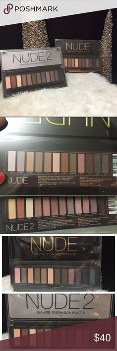 Nude 2 naked BYS eyeshadow pallet like urban decay Set of 2 eyeshadow palettes by BYS cosmetics. Set includes: NUDE palette and NUDE 2 palette. The last photo shows my urban decay naked 2 palette(minus Half Baked because I'm addicted lol) compared to the NUDE 2 and they are almost identical. This is a great dupe for a great buy! Makeup Eyeshadow