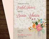Printable Floral & Lace Bridal Shower Invitation-Print Yourself-Digital Invite