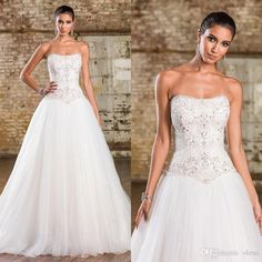 Bling Wedding Dresses with Crystal Skirt 2016 Elegant Strapless Sleeveless A Line Chapel Train Plus Size Modest Beading Tulle Bridal Gowns Online with $148.75/Piece on Olesa's Store | DHgate.com