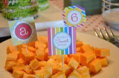 Rainbow Garden birthday party cheese tray