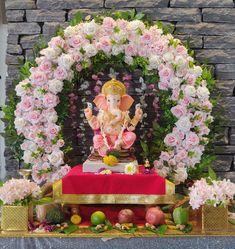 Flower Decoration For Ganpati, Eco Friendly Ganpati Decoration, Ganpati Decoration Design, Background Decoration, Backdrop Decorations, Flower Decorations, Backdrops, Gauri Decoration, Ganesh Chaturthi Decoration
