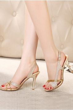 Leather Stiletto Heel Sling Back Gold Party&Evening Sandals with Sequin #cocomelody #goldstilettoheels