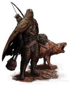 post-apocalyptic/fantasy ranger guy with mole rat by SirHanselot on DeviantArt Post Apocalypse, Apocalypse World, Character Portraits, Character Art, Character Design, Character Concept, Dark Fantasy, Fantasy Art, Apocalypse Landscape