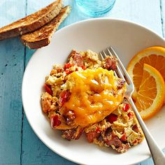 Make-ahead this Chicken Sausage Breakfast Casserole for a great start to your morning: http://www.bhg.com/recipes/breakfast/6-time-saving-slow-cooker-breakfasts/?socsrc=bhgpin072514chickensausagebreakfastcasserole&page=4