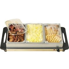 3-Station Food Warmer & Buffet Serving Tray ~ Stainless Steel Mini Server Cooker