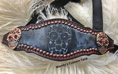 Mandy's Custom Tack black and red sugar skull bronc noseband halter with red bling and copper conchos