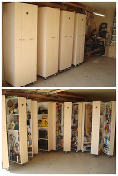 4 homemade rolling cabinets to organize all the tools in the garage. ok, so want this!!