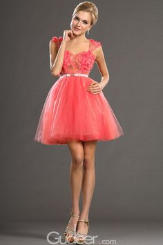 flower and beads decorated coral tulle short prom dress