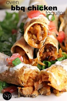 Oven BBQ Chicken Taquitos with cheddar!  These are SO delicious!