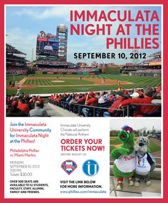Immaculata Night at The Phillies  September 10, 2012  For more information, go to: http://www.immaculata.edu/phillies