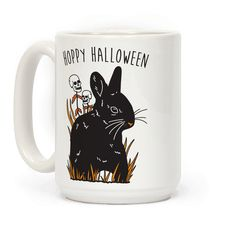 """Hoppy Halloween - Show off your love of the halloween season and bunnies with this funny, """"Hoppy Halloween"""" animal pun design featuring an illustration of a halloween rabbit with skull daises! Perfect for a bunny lover, halloween, and animal puns!"""