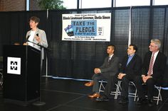 Illinois Lt. Governor Sheila Simon speaks at the Texting and Driving presentation at Harper College.