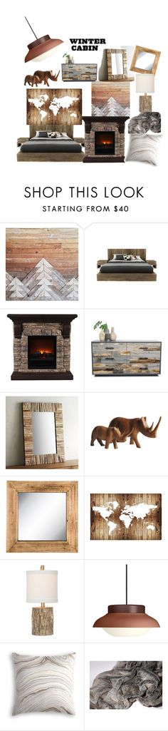 """""""Cozy Cabin: Bedroom"""" by melissa-strydom ❤ liked on Polyvore featuring interior, interiors, interior design, home, home decor, interior decorating, Huppé, Pier 1 Imports, Oliver Gal Artist Co. and Gubi"""