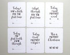 Baby Milestone Cards x30 Monochrome/Aqua by BlossomStudioUK