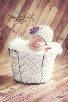 03 months Chunky Crochet Girls Newborn Hat by PumpkinPieCreations, $18.50
