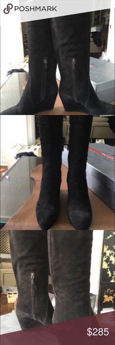 "Prada knee-high women's black suede boots PRADA  CALZATURE SCAMOSCIATO NERO VARIOUS SIZES  (see below for measurements)   Guaranteed Authentic  Bought at Prada store ships in Silver Prada box with Prada packing paper  TALL Nero SUEDE BOOT WEDGE HEEL WITH PRADA EMBOSSED PANEL  Prada calls them ""nero"" or black  But they appear to be dark brown   LOW INSIDE ZIPPER    All sizes have 18"" SHAFT  that can fold down a few inches Prada Shoes Heeled Boots"